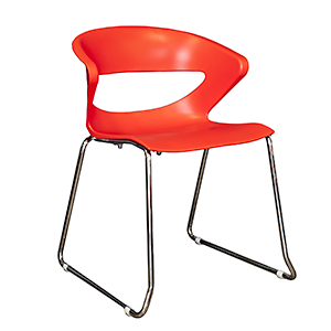 Aspen - polypropylene chair in red with fully welded sled frame