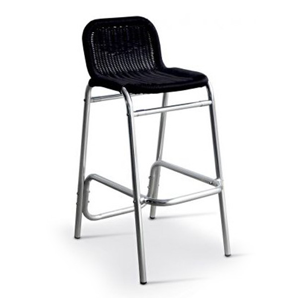 Brava Bar Stool - Anodised aluminium frame in Black Wickers
