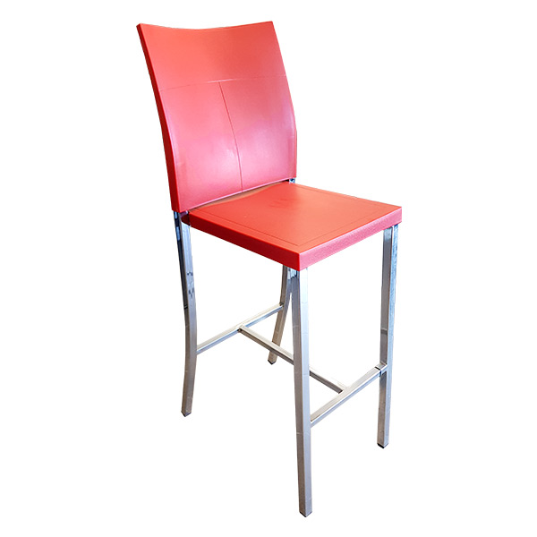 Deco Barstool - Polypropylene seat and backrest in red with fully-welded chrome frame