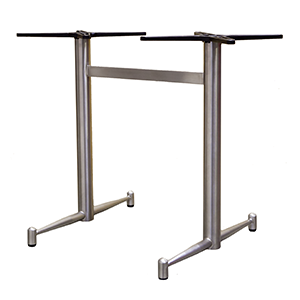 Galaxi Twin - Dining Brushed stainless steel finish table base with fully welded base