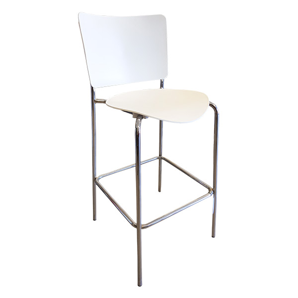 BC1B - Polypropylene bar stool in white seat and back rest with fully-welded chrome frame