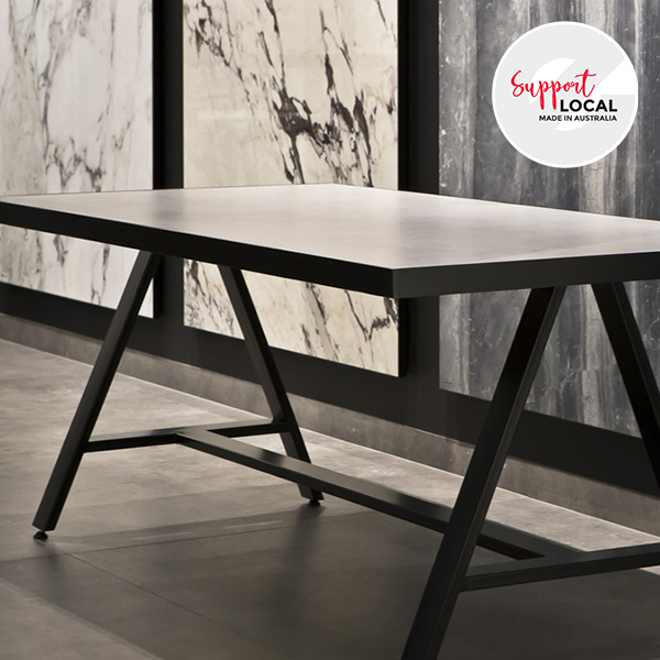 Grande Table - steel frame tables with premium Italian made porcelain stoneware, locally made in Australia