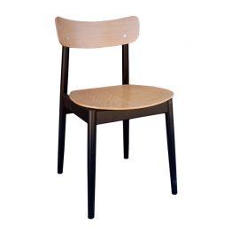 Nobb Chair in Natural Beech with Black Frame - Front View