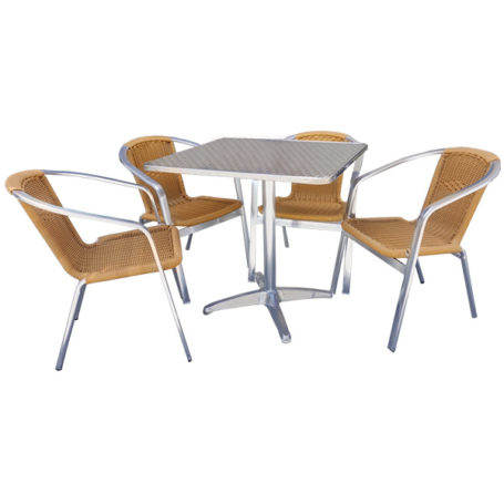 JZ012CW Chair & Stainless Steel Table Set