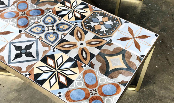 Brass Monkey - Custom Brass Frame Tiled Coffee Table with 200x200mm Patchwork Mix Tiles from Odin Tiles + Coverings