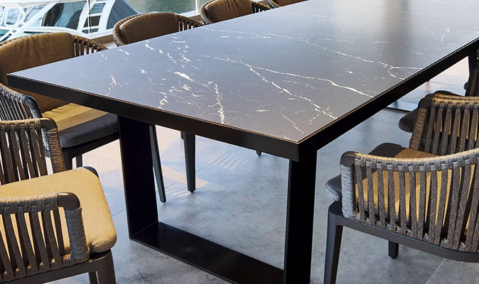 Grande Table - Custom U-Frame Tiled Table with Complete Porcelain Slab Tile from Odin Tiles + Coverings