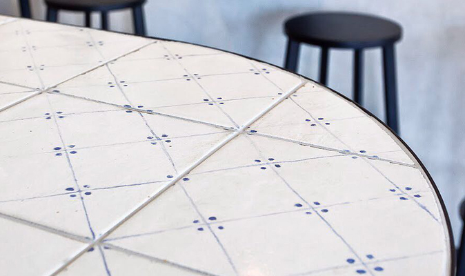 Pasta Express Warwick - Custom A-Frame Tiled Bar Table with Radius Corners in 200x200mm FH Mailolica Bianca Blu Tiles from Myaree Ceramics