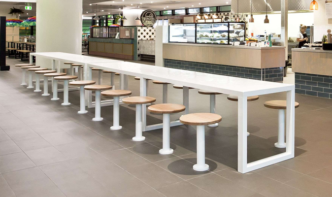 Perth Children's Hospital Food Hall - Fixed Custom O-Leg Tiled Table with 25x25mm White Gloss Mosaic from Myaree Ceramics