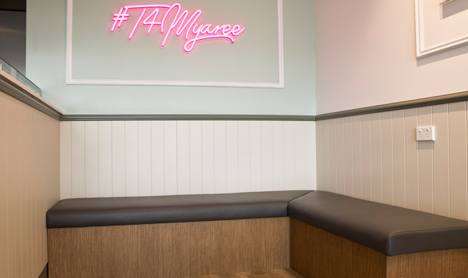 T4 Myaree - L-Shape Built in Bench Seating with Timber Veneer Plinth