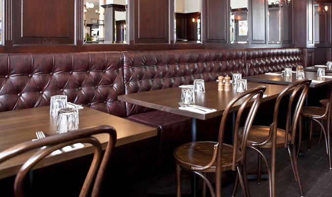 Belgian Beer Cafe - Fully Upholstered Deep Diamond Backrest Banquette with Black Kickpanel