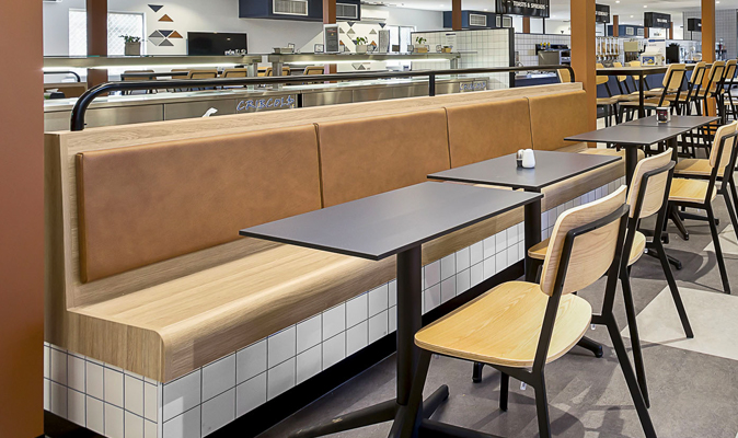Fleetwood Searipple Karratha - Fixed Banquette in Polytec Natural Oak Laminate with Upholstered Back Cushion
