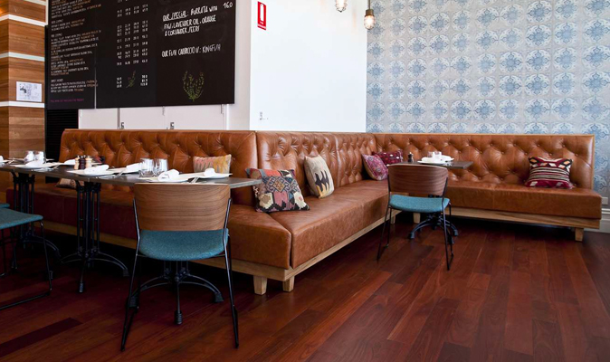 The Globe - Upholstered Deep Diamond Banquette with Recycled Blackbutt Timber Frame with Legs