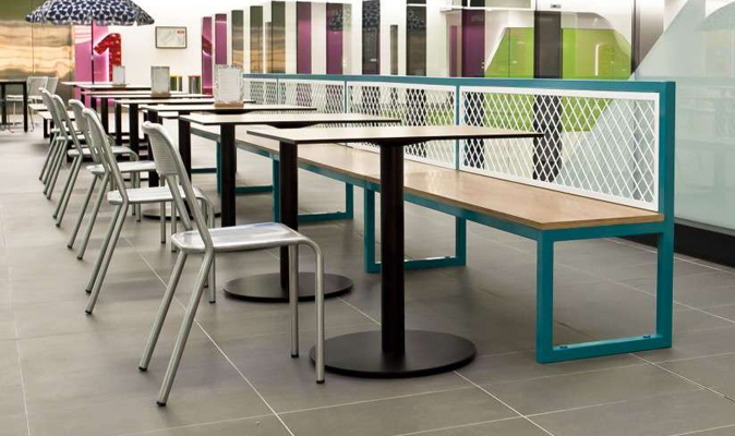 Perth Children's Hospital Food Hall - Fixed Steel Frame Bench with Steel Mesh Backrest and Exterior Plywood Timber Seat