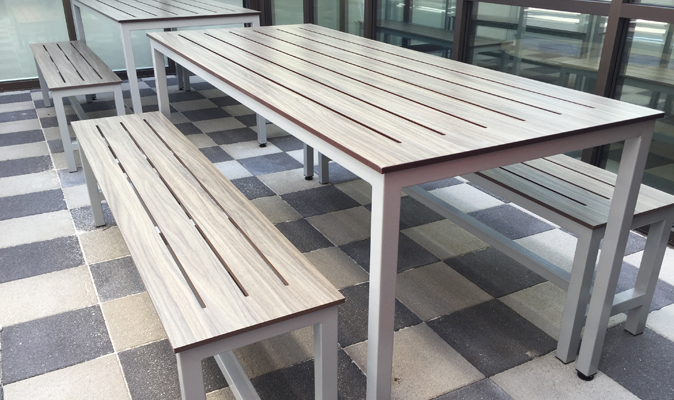 Foodbank WA - Steel Frame Bench with Compact Laminate Seat with Slotted Surface