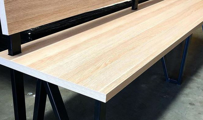 Fleetwood Searipple Karratha - Custom Steel Frame Bench with Structural Melamine Laminate Seat and Back