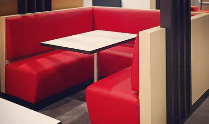 KFC Harrisdale - Custom U-Shaped Booth in Formica Refined Oak Laminate with Black Aluminium Kickpanel