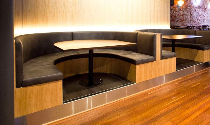 Patriot's Sports Bar - Custom U-Shaped Booth in Tassy Oak Timber Veneer with Upholstered Back and Seat Cushion