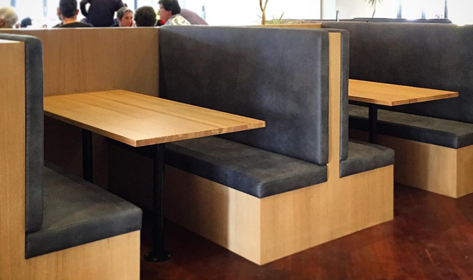 Belmont Tavern - Custom Booth in American White Oak Timber Veneer with Upholstered Back and Seat Cushion