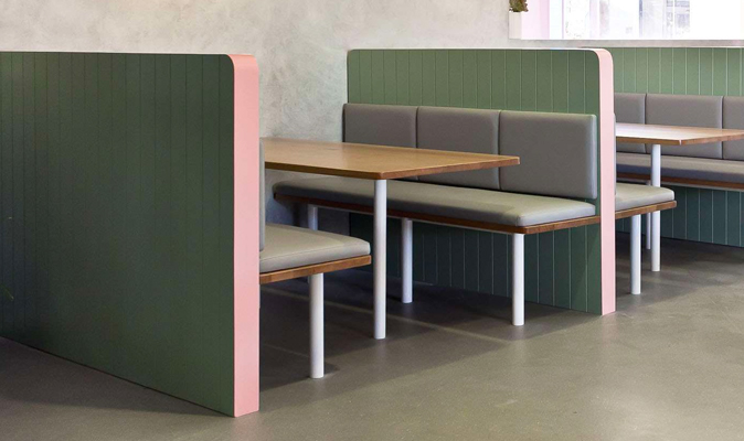 Bermuda - Custom Booth with Steel Frame Legs and Solid Timber Seat with Divider Panel and Upholstered Seat and Back Cushions