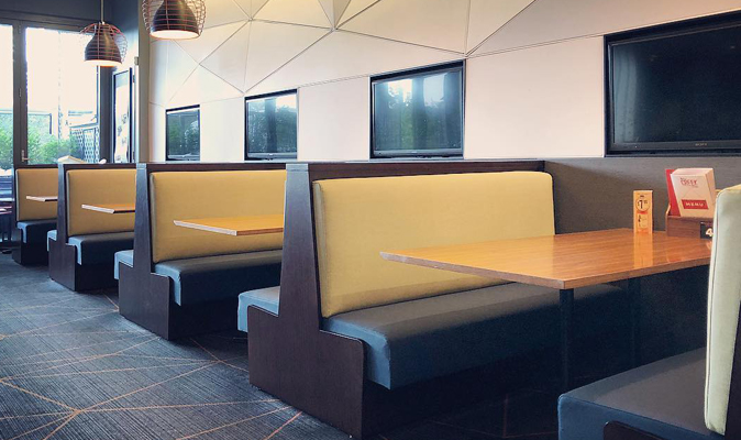 Bullcreek Tavern - Custom Booth in Solid Timber with Upholstered Back and Seat Cushion
