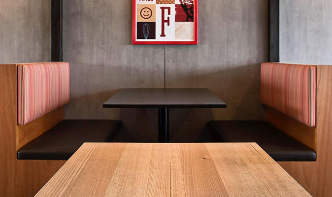 KFC Banksia Grove - Custom Booth in Marine Plywood Timber in Clear Finish with Upholstered Back and Seat Cushion