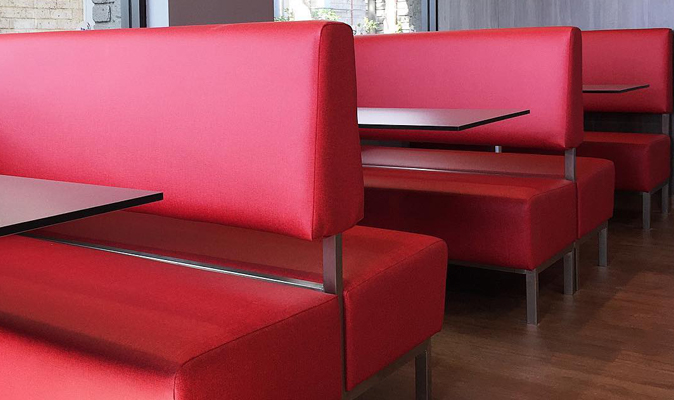 KFC Marangaroo - Custom Open Booth with Stainless Steel Frame and Hidden Fixing, Upholstered in Maharam Fabric