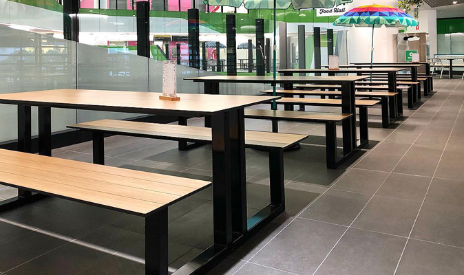 Perth Children's Hospital Food Hall - Custom Made U-Shape Picnic Bench Seating