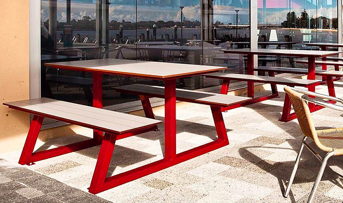 Han's Cafe Mandurah - Custom Made A-Frame Picnic Bench Seating
