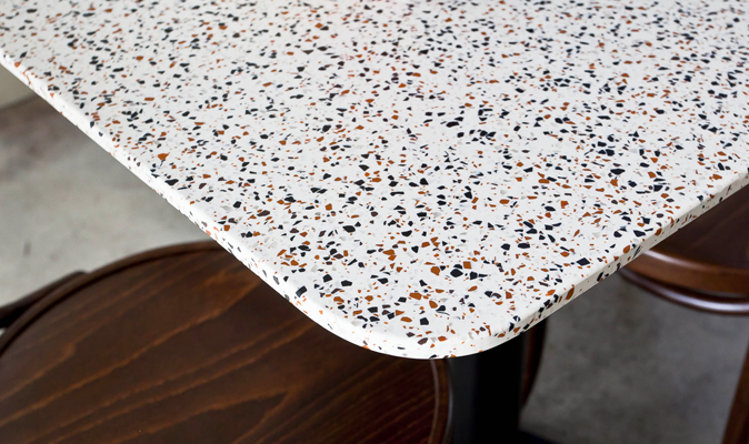 Luna by Three Sisters - Custom Made Acrylic Table in Terrazzo Pietra TR-4011C