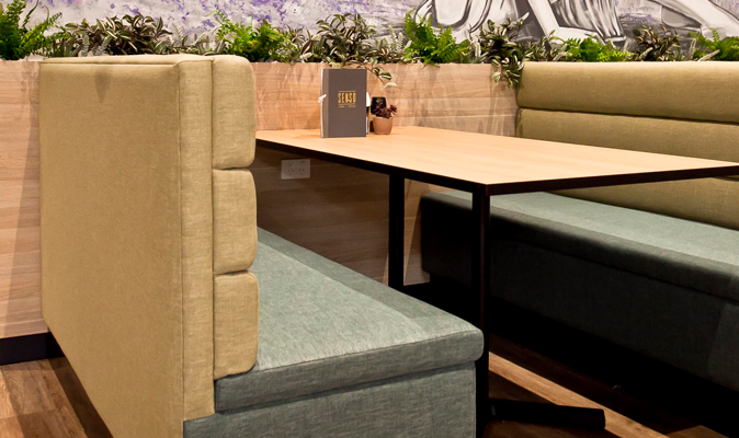Senso Espresso Midland Gate - Upholstery of Wide Roll Stitching Booth