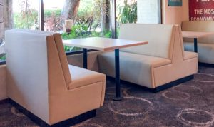 Wannerroo Tavern - Fully Upholstered Booth with Plain Backrest and Black Aluminium Kick panel