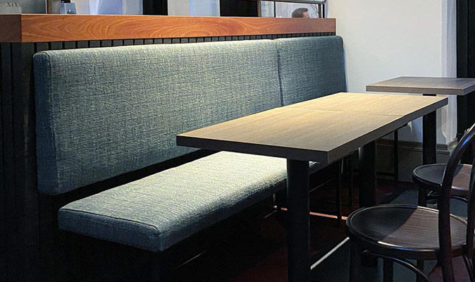 Re-upholstery of banquette seating