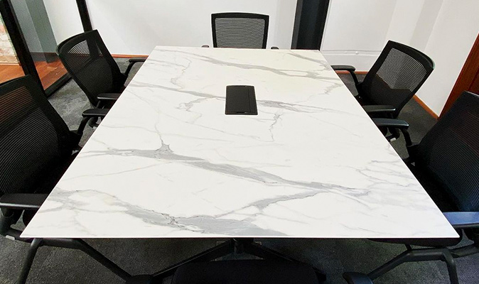Frichot Lawyers - Compact Laminate Top in Polytec XC Calacutta Grey (15mm thickness)