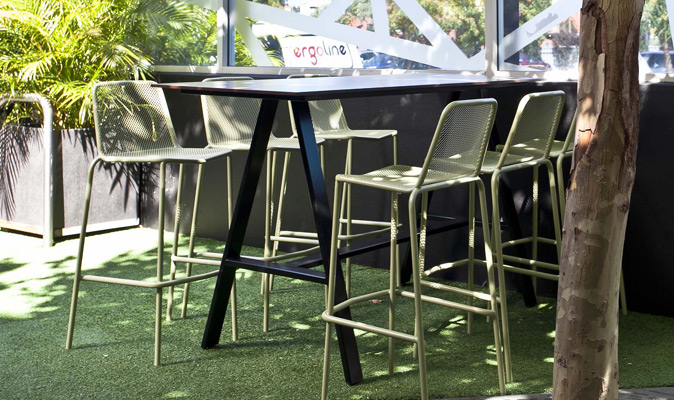 Hyde Park Hotel - A-frame Bar Table Compact Laminate Top in Polyrey UV Pine Grey