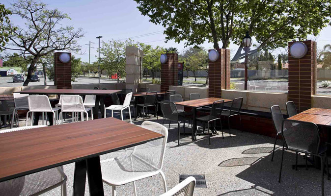 Lakers Tavern - Compact Laminate Top with Laminex Alfresco UV Split Cedar with scribe lines