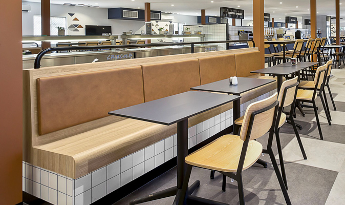 Fleetwood Searipple - Upholstery of Banquette Seating Backrest in Lucida Sahara cow hide leather from Decor Design Center