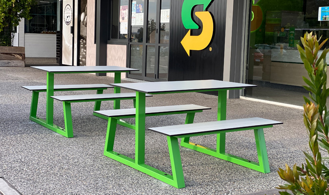 Subway - East Vic Park - Custom A-Frame Picnic Bench with Custom Made Exterior Compact Laminate in Birch Grey with scribe lines
