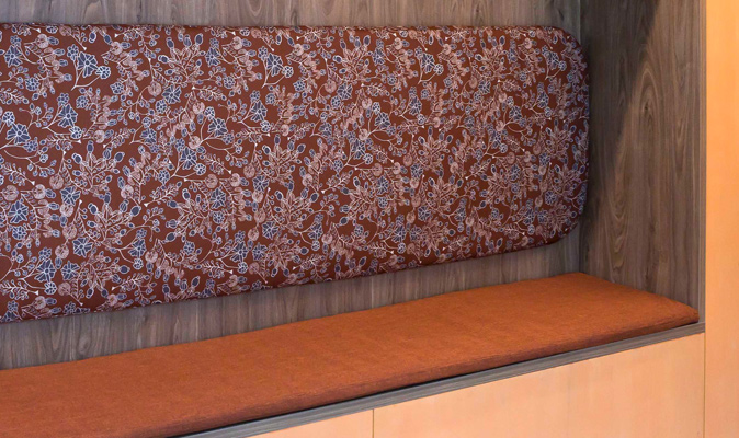 Swancare Ningana Bentley - Upholstery of Custom Banquette Seating, fabrics from Materialised, Woven Image and Maxwell Rogers