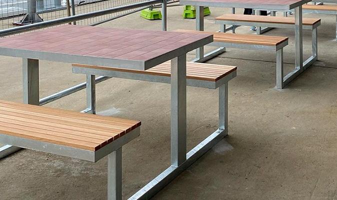 Jetty Bar & Eats - Custom Made Picnic Bench with D_Segni Blend 'Terra' tile work and Australian Blackbutt timber seat