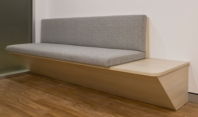 Western Pain Clinic - Custom Made Banquette Seating with integrated coffee table