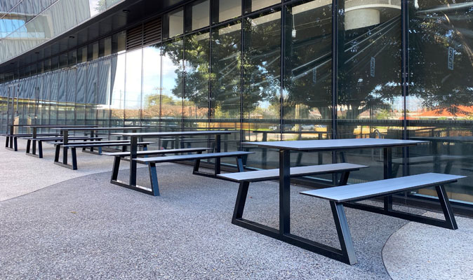 8 Yolks Cafe Belmont - Custom A-Frame Picnic Benches