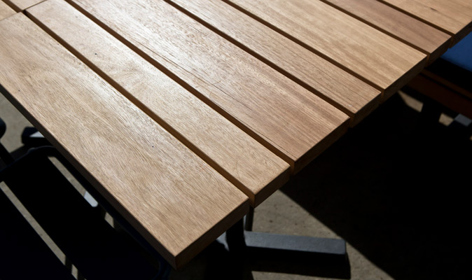 Jetty Bar & Eats Freo - Custom External Slatted Dining Table with Blackbutt Solid Timber in Osmo Oil Exterior Finish (Matte)