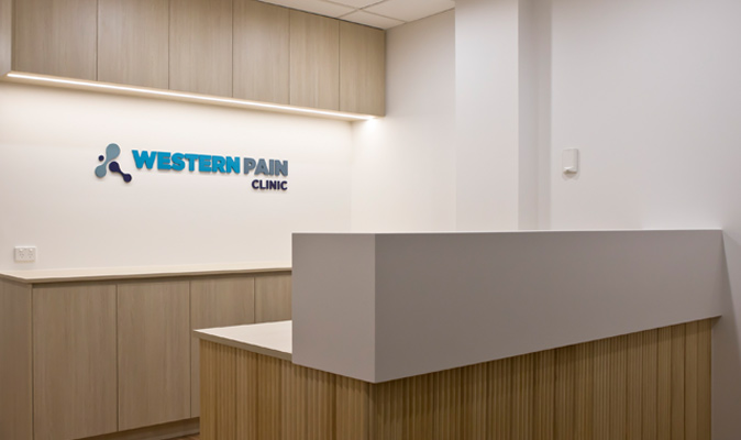 Western Pain Clinic - Joinery of Reception Counter & Storage Cabinet