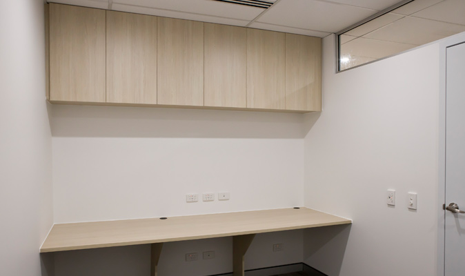 Western Pain Clinic - Joinery of Office Desk & Storage Cabinets