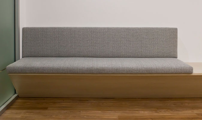 Western Pain Clinic - Upholstery for Custom Made Banquette Seating with integrated coffee table