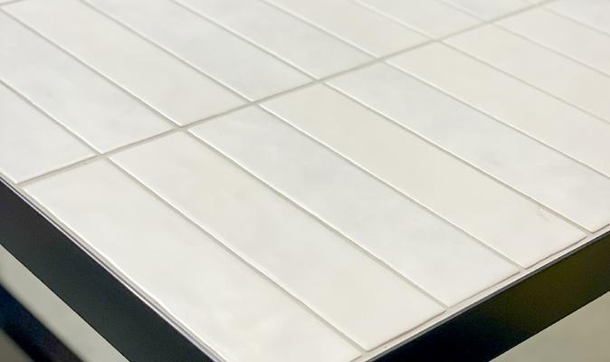 Custom Tile Table with Porto Frame on Castors